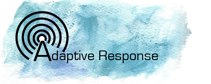 """Blue watercolor background with black text that says """"Adaptive Resistance"""" and black concentric circles radiating from the A, like a graphic representation of radio waves."""