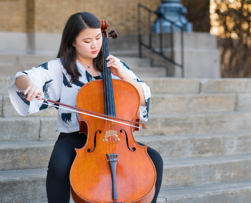 Image of Eunice Koh playing a cello